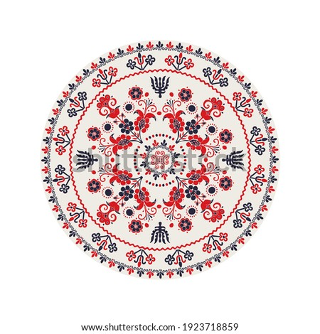 Traditional Hungarian round decorative element, isolated vector over white background. Foto d'archivio ©