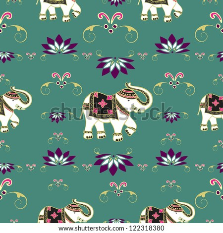 Traditional indian elephant decorated for special occasion pattern background . Vector illustration layered for easy manipulation and custom coloring.