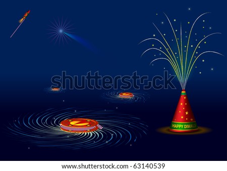 Traditional indian fire crackers for diwali - vector illustration