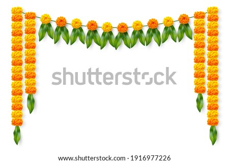 Traditional Indian floral garland with marigold flowers and mango leaves. Decoration for Indian hindu holidays or wedding. Isolated on white. Vector illustration.