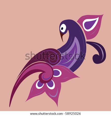 Traditional indian ornament - bird/Vector ornament - bird. - stock vector