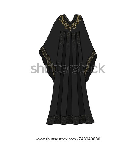 Traditional islamic dress. Muslim women clothe. Emirates abaya. Hijab religious dress.