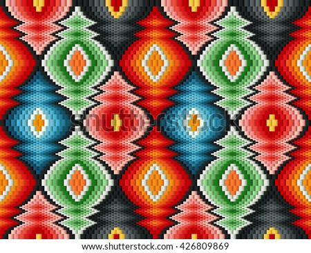 Traditional Italian embroidery design. Colorful seamless geometric pattern.