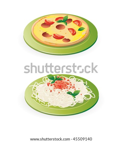 ... pasta and pizza - vector illustration isolated on white - stock vector