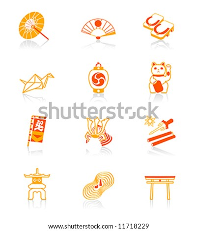 Traditional japanese culture objects vector icon set in red-orange
