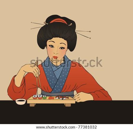 Traditional japanese girl enjoy sushi. Vector illustration. - stock vector