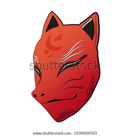 Stock Photo Traditional Japanese mask of a fox spirit vector illustration