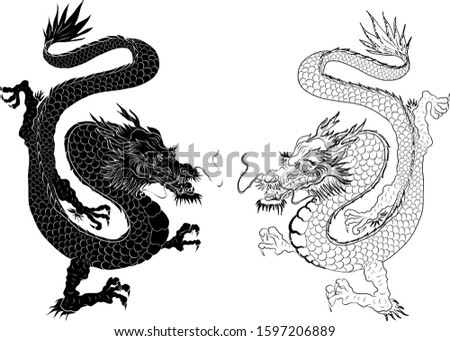 traditional japanese old dragon
