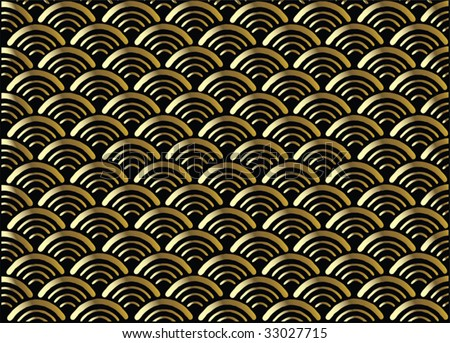 Traditional japanese ornamental pattern- seigaiha, golden. Vector format