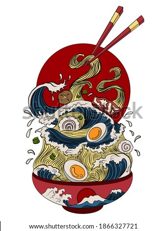 Traditional Japanese ramen and wave for restaurant printing on wallpaper.Ramen vector illustration for doodle art.Sunrise with chopsticks vector for painting on background. ストックフォト ©