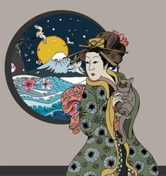 Traditional Japanese wave poster in the window.Japanese women in kimono with her cat.Hand drawn geisha girl and kitten on wave background.Japanese wave with peach flower and Fuji mountain background.
