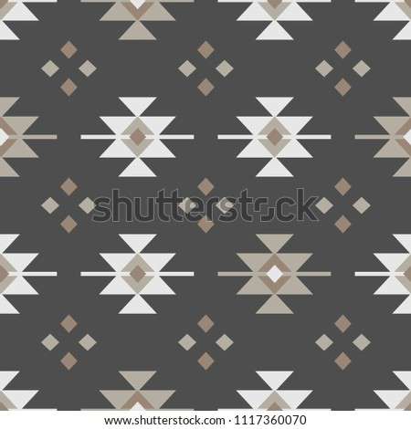 Traditional kilim seamless pattern in earthy tones. It can be printed on cards, packaging, fabrics, invitations, wallpapers or used for presentations or as a background.
