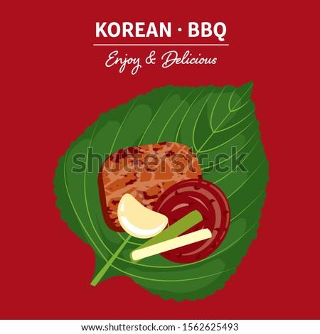Traditional korean food, korean BBQ with sesame leaf.