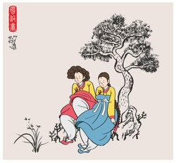 Traditional Korean painting style. Women in traditional Korean costumes. Nature background with tree and rocks. (Red letter translation : 'Genre Painting')