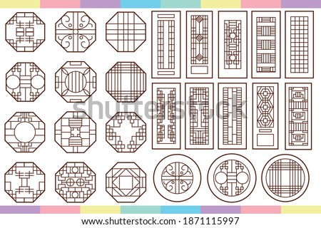 Traditional korean window. classic round and octagon tradional window and door. Korea, japan, China or asian. traditional historical doors and windows