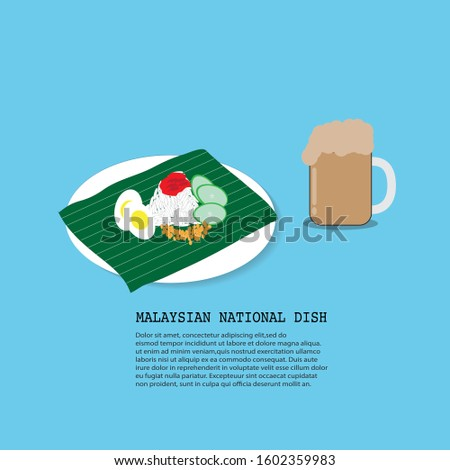 Traditional malaysian food. Nasi Lemak and teh tarik or pull of tea on a blue background. Vector illustration