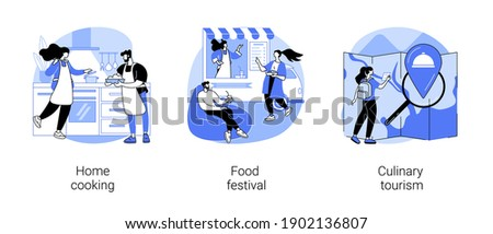 Traditional meal abstract concept vector illustration set. Home cooking, food festival, culinary tourism, food recipes, eating habit, world cuisine, gastronomy event, restaurant abstract metaphor. Stok fotoğraf ©