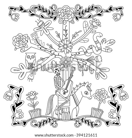 Traditional mexican style adult coloring page with for Mexican coloring pages for adults