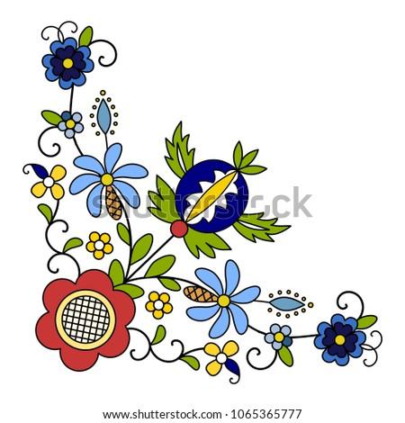 Traditional, modern Polish - Kashubian floral folk corner decoration vector - wzór kaszubski, haft kaszubski, wzory kaszubskie Zdjęcia stock ©