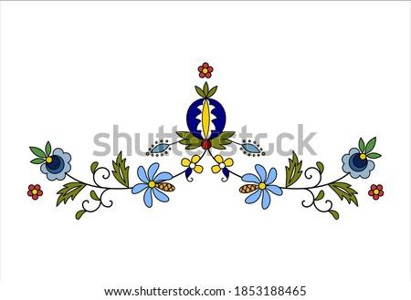 Traditional, modern Polish - Kashubian floral folk decoration vector, wzory kaszubskie, kaszubski wzór, haft Zdjęcia stock ©