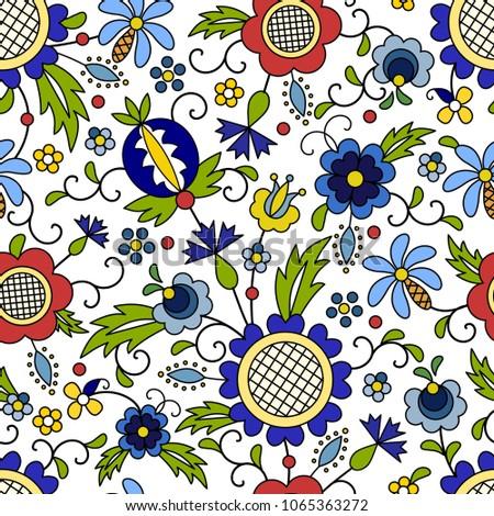Traditional, modern Polish - Kashubian floral folk pattern vector, wzór kaszubski, wzory kaszubskie Zdjęcia stock ©
