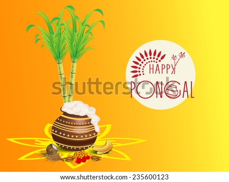 Traditional mud pot with rice religious offering lit lamps and sugarcane on colorful background for South Indian harvesting festival Happy Pongal celebrations