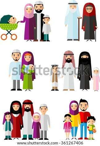 Traditional muslim family with children and maturity  Set of vector  illustration arab  family in national clothes