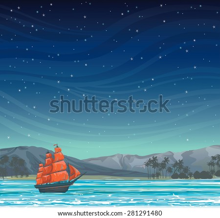 traditional old sailboat with