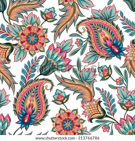 Traditional oriental seamless paisley pattern. Vintage flowers background. Decorative ornament backdrop for fabric, textile, wrapping paper, card, invitation, wallpaper, web design.
