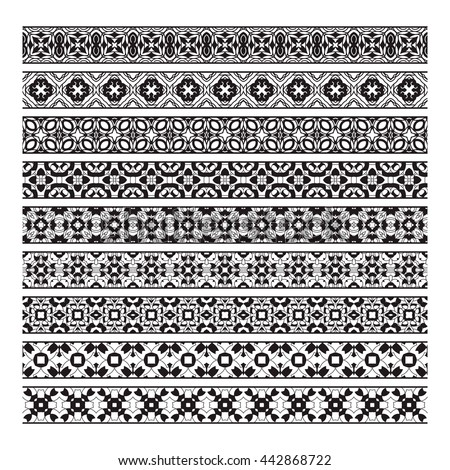 Traditional ornamental borders set. Page decoration elements #442868722