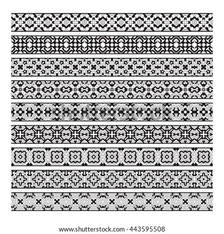 Traditional ornamental borders set. Page decoration elements #443595508