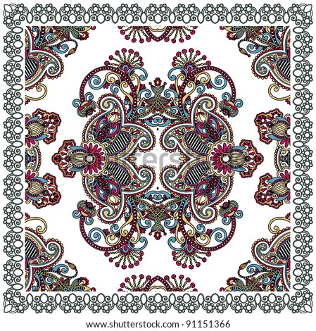 Traditional Ornamental Floral Paisley Bandana