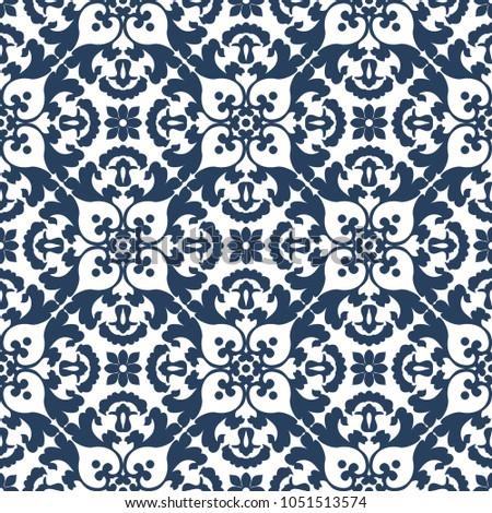 Traditional ornate decorative tiled pattern. Ornamental seamless background. Arabic retro wallpaper. Vector illustration