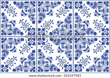 traditional ornate portuguese decorative tiles azulejos vintage pattern abstract background vector hand drawn