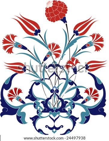 Traditional ottoman turkey turkish tulip tile design