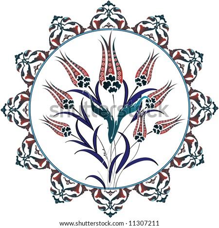 Traditional ottoman turkey turkish vector tulip tile design