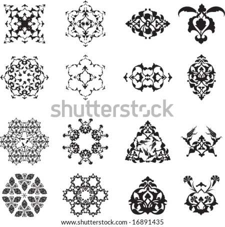 Traditional ottoman turkish islamic design elements and patterns set