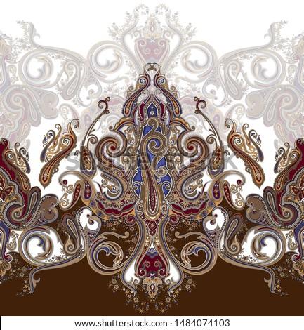 Traditional paisley border. Ornamental paisley print for textile design or fabrics