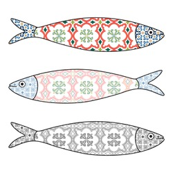 Traditional Portuguese icon. Colored sardines with typical Portuguese tiles patterns. Vector illustration