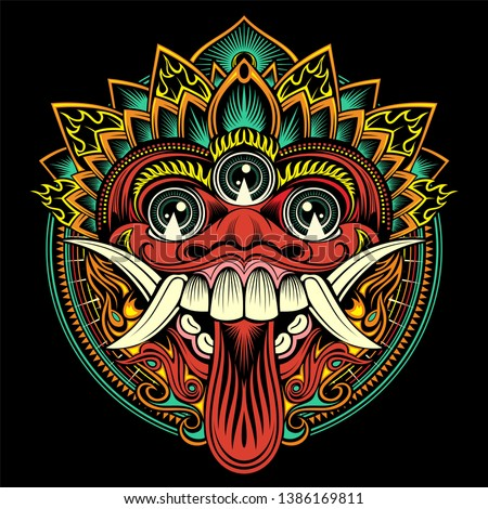 Traditional ritual Balinese mask. Vector outline illustration - Vector