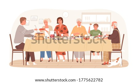 Traditional Russian family eating dishes sitting at table together vector flat illustration. Happy relatives talking during festive dinner at home isolated on white. Smiling people at holiday meal
