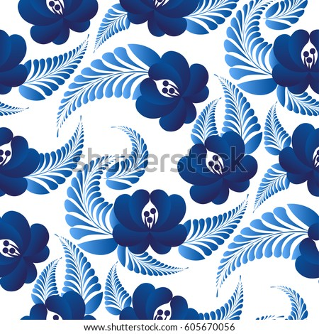 Traditional Russian floral seamless pattern in the style gzhel