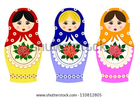 Traditional russian matryoshka - stock vector