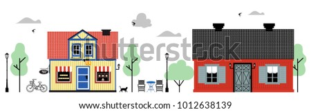 Traditional scandinavian and old european house collection vector line art. Beautiful detailed facades of old European buildings Set. Vector flat illustration for web or advertising materials.