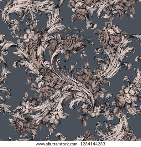 traditional seamless baroque pattern. baroque pattern with flowers and floral elements