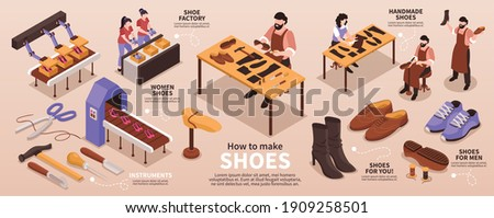 Traditional shoemaking artisan craft and modern shoe manufacturing fabric production line isometric infographic presentation poster vector illustration Foto stock ©