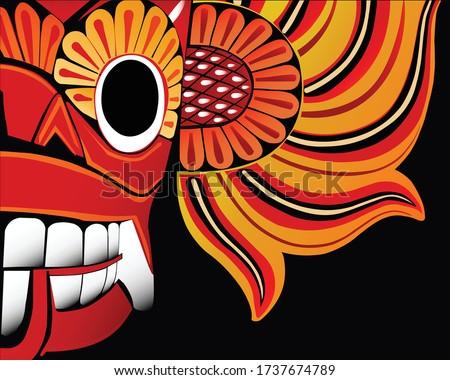 Traditional Sri Lankan Devil Mask, Yaka Face Stok fotoğraf ©