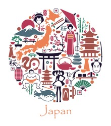Traditional symbols of the Japanese architecture and culture in the form of a circle
