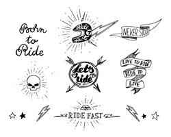 Traditional tattoo biker set of design elements