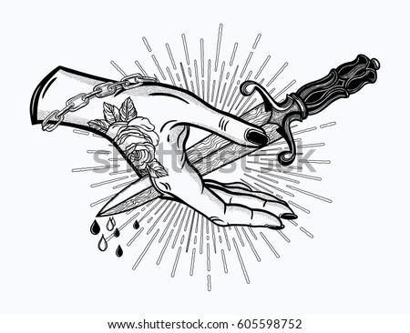 traditional tattoo flash hand